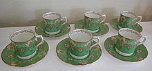 Royal Crown Derby gilded porcelain coffee service eleven pieces af
