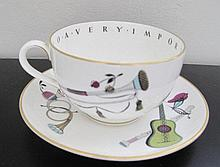 Royal Worcester large motto porcelain cup & saucer To a very important person and paintdwith various musical instruments