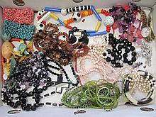 Quantity of various costume jewellery including coral necklaces, turquoise, silver bracelet, tutti frutti necklace and earrings, French jet beads qty