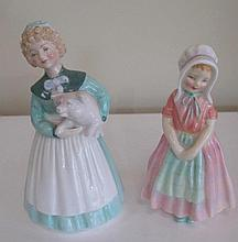 Two Royal Doulton porcelain figures Tootles with Stayed at Home measure 14cms Ht