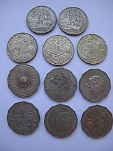 Three Australian 1966 round fifty cent coins with two New Zealand 1967 fifty cent Endeavour round coins and six various Australian fifty cent coins