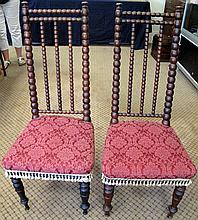 Pair antique Australian bobbin reel back chairs with red fabric upholstery