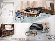Vintage Designer Maison Paul furniture sketches