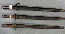 Three vintage Military bayonets dated 1907 measure