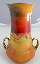 Royal Doulton gilded hand painted porcelain vase