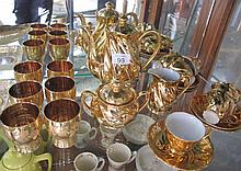 Vintage gold lustre tea set six gold glasses and