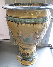 Chinese old Sancai glazed pot on stand 77cms Ht