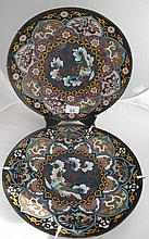 19thC pair Chinese cloisonne wall chargers with