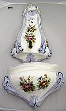 Vintage Florentine painted porcelain wall fountain