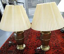 Quality Pair of brass table lamps 50cms Ht
