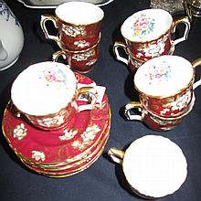 Six Crown Staffordshire gilt burgundy coffee cups