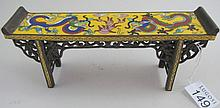 Miniature Chinese yellow cloisonne altar table