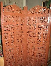 Vintage Indian carved timber panel screen 1.75m