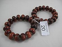 Pair of Chinese Huanghuali bead bracelets each