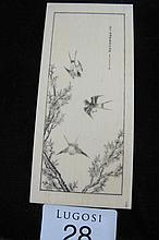 Framed Antique Chinese ivory birds plaque with