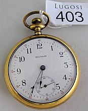 Antique Waltham gold plated hunter pocket watch in