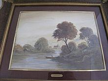 Tassinari Italian oil painting Riverscape signed