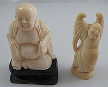 Two small antique ivory Buddhas