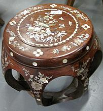 Vintage mother of pearl Inlaid rosewood stool 34cm