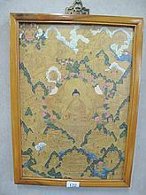 19thC Rosewood framed Thangka depicting the