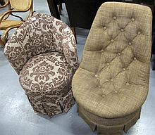 Two Tub chairs with brown fabric upholstery
