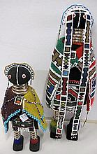 Two hand made African beaded dolls