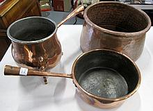 Copper pans with copper jug