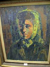 Swedish school 20thC oil board Woman in headscarf