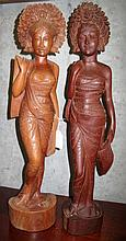 Two well carved Balinese ladies 60cms Ht