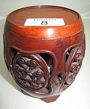 Chinese rosewood drum-form stand 11cms Ht