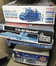 Box of model kit planes and tanks