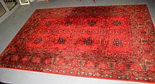 Large Persian style wool red ground floor rug