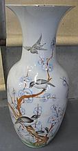 Chinese large porcelain vase with birds & blossoms