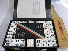 Chinese vintage cased Mah Jong set and books with