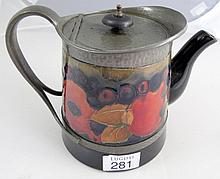 Early pewter mounted Moorcroft pomegranite teapot