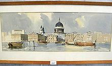 Wesson Edward English watercolour London from the