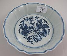 Chinese blue porcelain phoenix bowl marks to base
