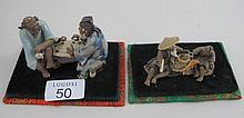 Two boxed vintage Chinese Yixing figure groups