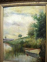 19thC gilt framed oil painting river scene