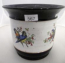 Italian porcelain jardiniere with bird floral