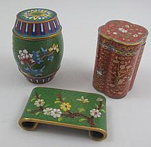 Two small cloisonne boxes and stand 5.6cms