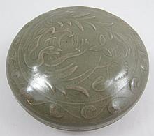 Chinese Yqozhou round covered box decorated pair