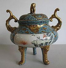 Chinese robins egg glaze gilded porcelain censer