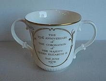 Royal Doulton gilded porcelain loving cup The 25th Anniversary of coronatio