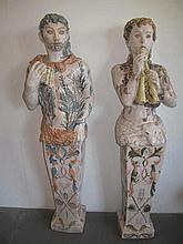 Vadim Androusov Russian pair terracotta caraytids measure 145cms H x 39cms