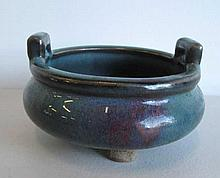 Chinese Junyao tripod censer double lug handles with purple splash to exter