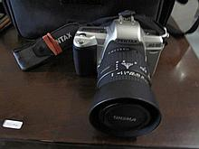 Pentax MZ60 film camera with flash & bag