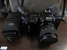 Ricoh KR10M film camera with bag & flash