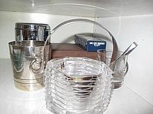 Good Italian crystal ice bucket with various bar items to shelf