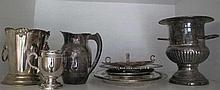 Shelf silver plate ice bucket, jugs, trays